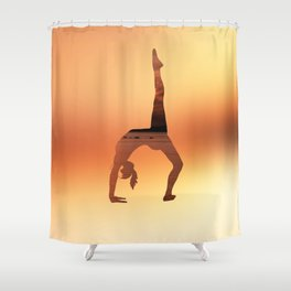 Yoga - One Legged Wheel Pose Shower Curtain