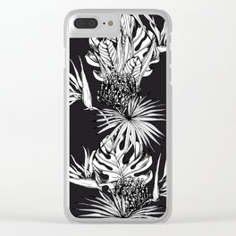 Black and white tropics Clear iPhone Case
