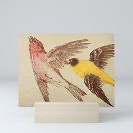 Vintage Print - American Goldfinch & Purple Finch Mini Art Print