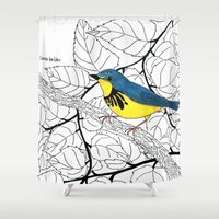 canada Shower Curtains featuring Canada Warbler by Art by Peleegirl