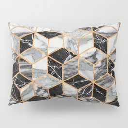 Marble Cubes - Black and White Pillow Sham