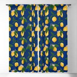 Lemony Fresh in Blue Blackout Curtain