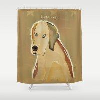 golden retriever Shower Curtains featuring golden retriever dog modern by bri.buckley