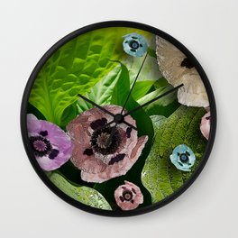 POPPIES AND HOSTAS FLOWERS AND FOLIAGE Wall Clock