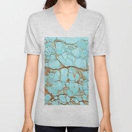Cracked Turquoise & Rust Unisex V-Neck
