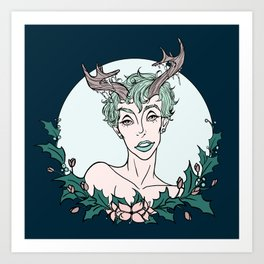 Holly Sprite (Mint/Rose) Art Print