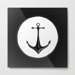Anchor Point (white on black) Metal Print