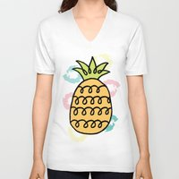 pineapples V-neck T-shirts featuring Playful Pineapples by Studio Longoria