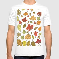 Autumn leaves, berries and nuts White Mens Fitted Tee MEDIUM