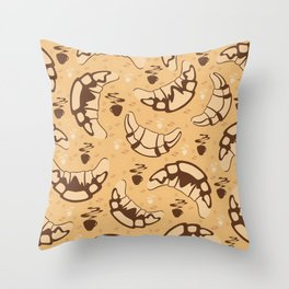 Seamless croissant background Throw Pillow
