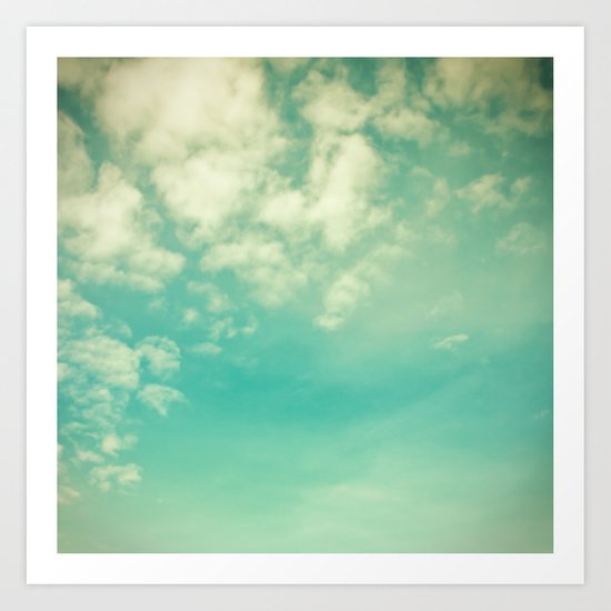 Retro Vintage Blue Turquoise Fall Sky and Clouds Art Print