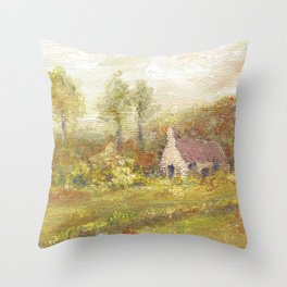 Impressionism Country Home Throw Pillow
