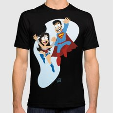 couple dressed as heroes. Mens Fitted Tee MEDIUM Black