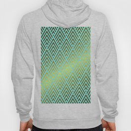 Gold foil triangles on Teal Hoody