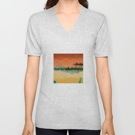 "Digital Abstract Landscape ""Minnesota Memories"" Unisex V-Neck"