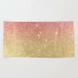 Pink abstract gold ombre glitter Beach Towel