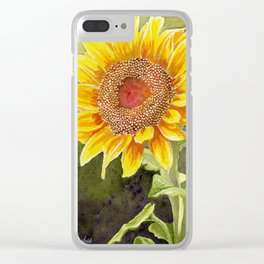 Sunflower–Watercolor Clear iPhone Case
