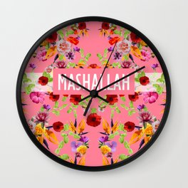 MashAllah Flower Print Wall Clock