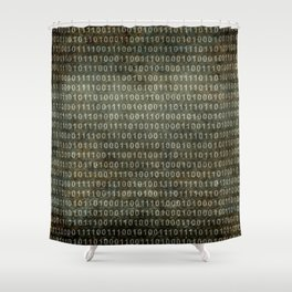 Binary Code with grungy textures Shower Curtain