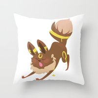 umbreon Throw Pillows featuring Umbreon by Dani Tea