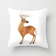 Low Poly White-tailed Deer Throw Pillow