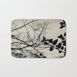 Holly tree sunset (silvertone) Bath Mat