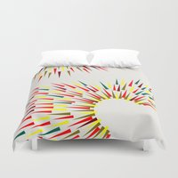 fight Duvet Covers featuring Peacock Fight by K I R A   S E I L E R