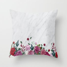 Marble n Roses Throw Pillow