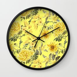 Vintage & Shabby Chic - Yellow Summer Flowers Wall Clock