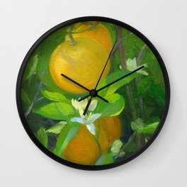Orange Tree with Oranges and Blossoms Wall Clock
