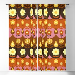 Folk Flowers Dusty Pink Blackout Curtain