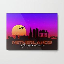 Amsterdam Netherlands Skyline Synthwave Landscape Metal Print