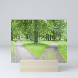 Forked pathway in a forest Mini Art Print