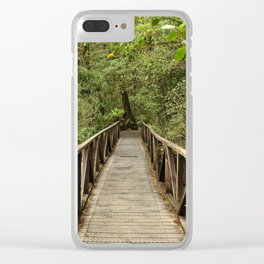 Bridge to forest. New Zealand Clear iPhone Case