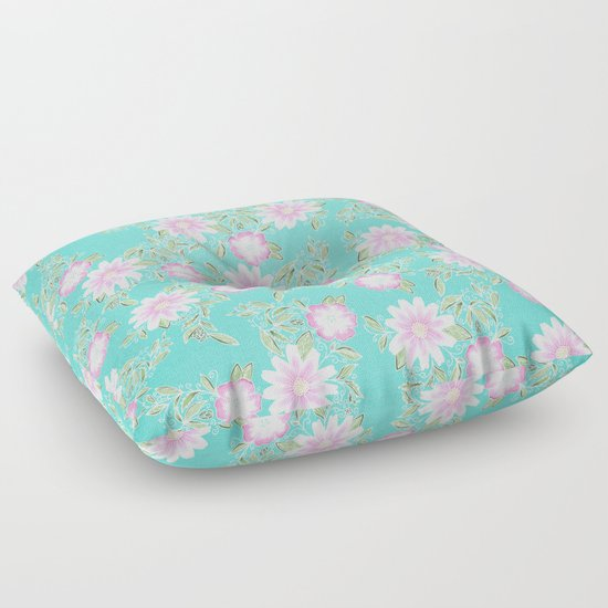 Modern turquoise pastel pink green watercolor flowers Floor Pillow by Pink Water Society6