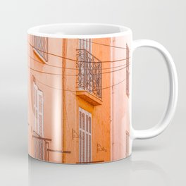 Cannes City Architecture, Travel Print, Historic Houses Downtown, Charming City Streets Of Cannes, French Riviera, Orange Houses Coffee Mug