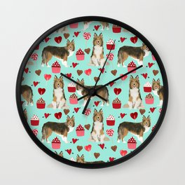 Sheltie shetland sheepdog valentines day love hearts cupcakes dog gifts puppies pet friendly art Wall Clock