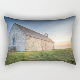 Sunset over St.Cwyfan's Church Rectangular Pillow