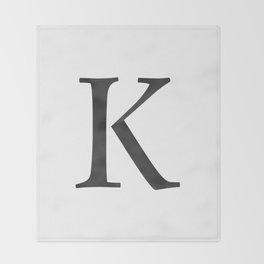Letter K Initial Monogram Black and White Throw Blanket