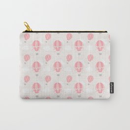 Vintage girly blush pink gray cute hot air balloon Carry-All Pouch