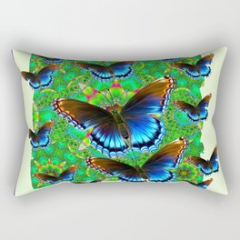 BLUE-BROWN BUTTERFLY GREEN ART Rectangular Pillow