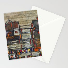 Village Houses with Laundry colorful landscape painting by Egon Schiele Stationery Cards