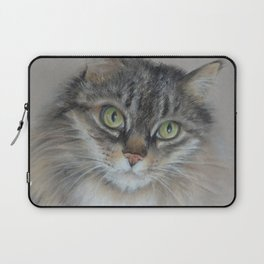 Tabby cat Maine Coon portrait Pastel drawing on the grey background Laptop Sleeve