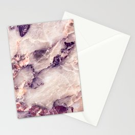Pink marble texture effect Stationery Cards