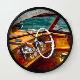 Classic Motorboat, Lake Como, Italy Wall Clock