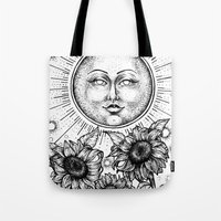 tarot Tote Bags featuring Sun Tarot by Corinne Elyse