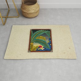 Minhwa: Plantain Garden at Night (Korean traditional/folk art) Rug