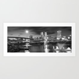Tulsa BW Skyline and Downtown Evening Lights Panorama Art Print