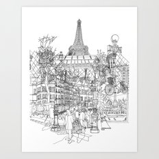 Paris B&W (Dark T-shirt version) Art Print