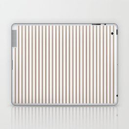 Mattress Ticking Narrow Striped Pattern in Chocolate Brown and White Laptop & iPad Skin